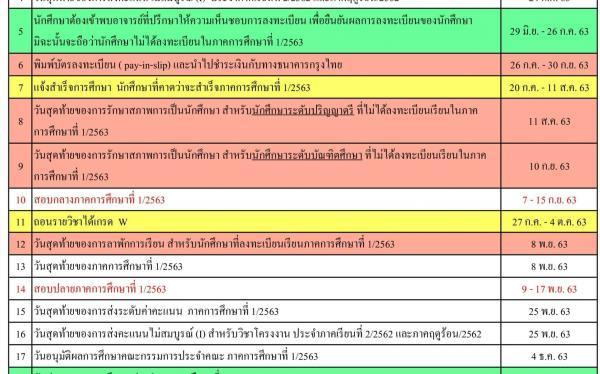 ปฏิทินการศึกษาประจำภาคการศึกษาที่ 1  ปีการศึกษา 2563 (ฉบับแก้ไข)23-6-63